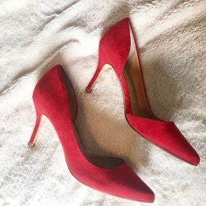 Red express suede pointed toe heels